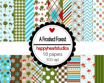 DigitalScrapbook AFrostedForest -INSTANT DOWNLOAD
