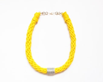 Yellow Kumihimo Necklace, Yellow and Silvered Necklace, Yellow Accessories, Yellow Woven Necklace, Knitted Necklace, Yellow Jewelry.