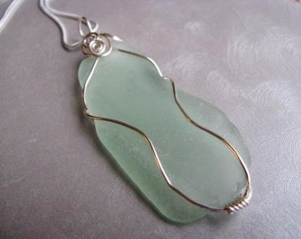 Large Showstopper Beach Glass Necklace - Seafoam Green - Sea Glass Pendant - Sea Glass Necklace