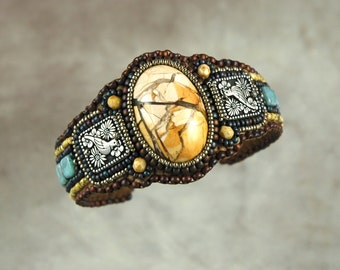 Bracelet, Brecciated Moukaite, Cuff,  Doves. Silver, Bead Embroidered Cuff Bracelet