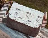 Overnight Weekender - Messenger Bag -Diaper Bag - School Bag - Duffle Bag - Messenger Computer Bag in Grey Chevron and Mint Leaf Print