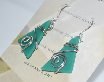 Beach inspired cut glass and wire wrap earrings-jade green glass spring jewelry-maine made wearable art