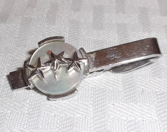 Three Sons in Military Service Vintage Mother Of Pearl Star Silver Tone Tie Clip