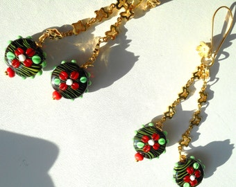 Chili Pepper Dangles ... lamp worked glass bead earrings, butterfly chain ... #638