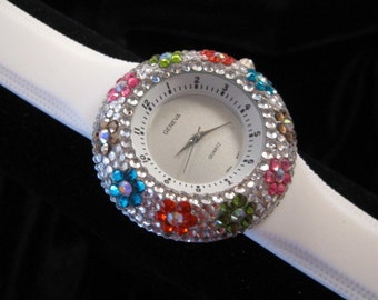 Flower Encrusted Stone Face  Watch from Geneva