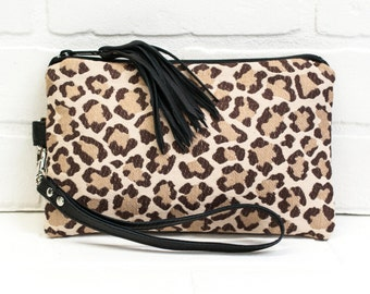 leopard clutch, wrist clutch, animal fabric, wristlet, phone wallet, purse, tassel, make up bag, handmade, upcycled, repurposed, stacylynnc