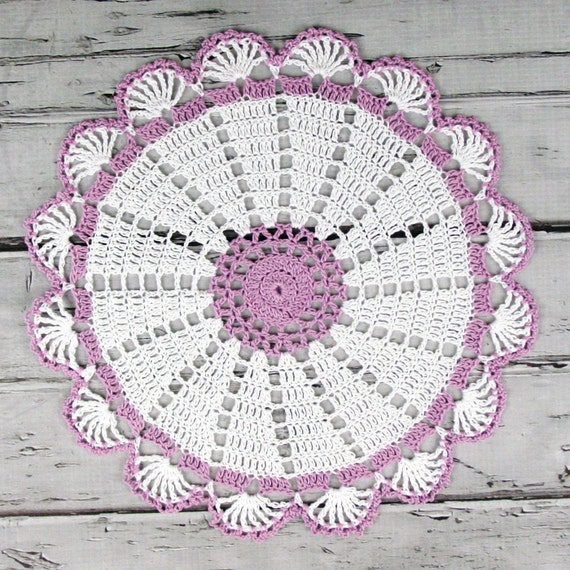 Lovely Crocheted White Violet Doily Table Topper - 10 1/2 inches