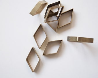 10 pieces of newly made cut raw brass tube outline charm in rhombus diamond geometric shape 12x30x5mm