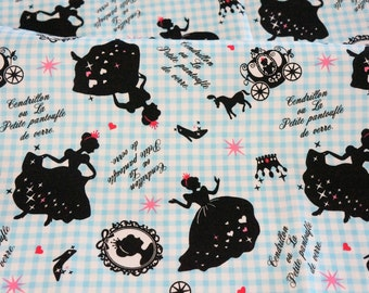 Cinderella print with gingham background  50   cm by 106 cm or 19.6 by 42 inches Half meter nc42