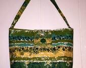 Vintage Mid Century Modern Fabric Purse green yellow retro