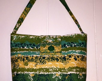 Vintage Mid Century Modern Fabric Purse green yellow retro