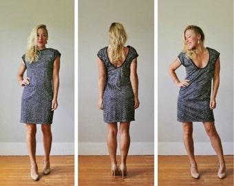 ON SALE 1980s Silver Dot Mini Dress >>> Extra Small to Medium