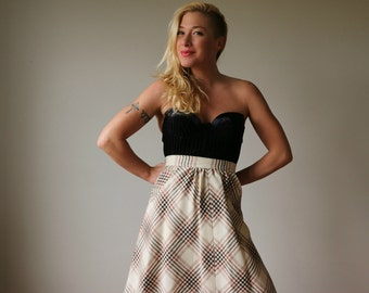 1970s Autumn Plaid Skirt~Size Double Extra Small (00/0)