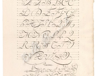 Antique French Calligraphy Exemplar Alphabet Plate 13 LASER PRINT