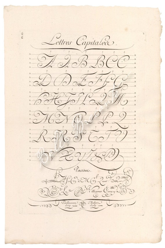 Items Similar To Antique French Calligraphy Exemplar