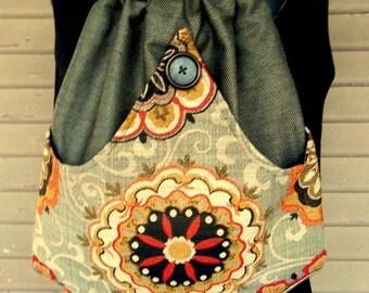 Brown Tweed Backpack Crewel Hippie Book Bag Brown Tweed Drawstring Backpack