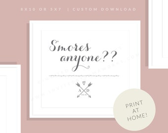 Smores Sign   Printable S'mores Sign   Downloadable S'mores Sign   Wedding Day Sign   Wedding Reception Printable   Allie Collection