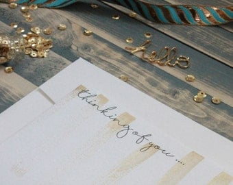 Gold Painted Stationery | Gold Stationary | Thinking of You Card | Watercolor Stationery | All Occasion Stationery | Stationary Set