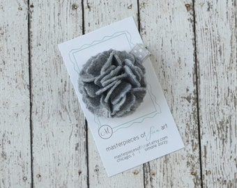 Charcoal Grey Felt Carnation Flower Hair Clip on a Polka Dot Clippie - gray - felt flower hairbow - flower hair bow with non slip grip