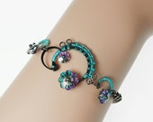 Swarovski Crystal bracelet, Pastel Vitrail Light Crystals, Wire Wrapped, Industrial Jewelry, Youniquely Chic, Gift, Rigel IV v3