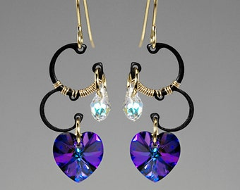 Jupiter II v7: Wire wrapped earrings with beautiful heliotrope Swarovski crystals