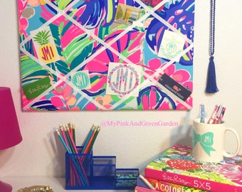 New memo board made with Lilly Pulitzer Exotic Garden fabric