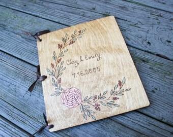 Custom Wedding Guest Book - Rustic Floral Wreath