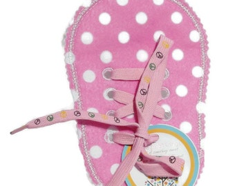 Felt Pink Polka Dotted Spotted Learn to Tie Your Shoe Great Educational learning toy #3900