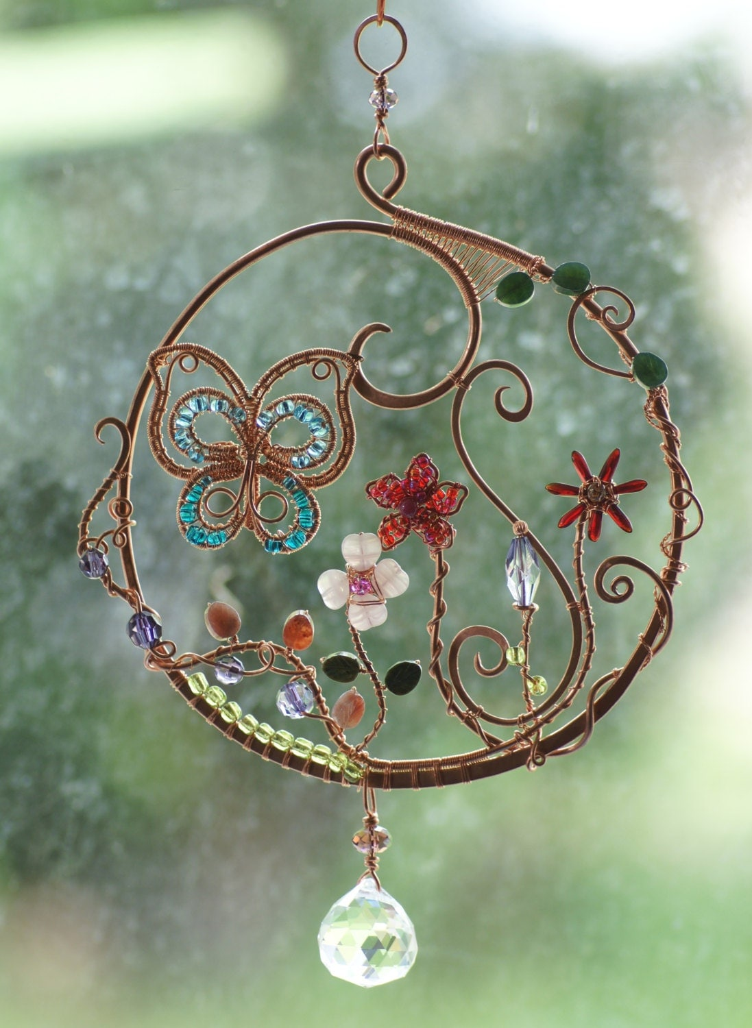 Wire Wrap Suncatcher With With Butterfly And Garden Gemstone