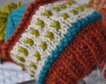 Chunky Knit Hat - Colorful Slouchy Hat - Pom Pom Ski Hat - Adult Warm Winter Hat - Orange Spice - Lemongrass Green - Teal Blue - Oatmeal