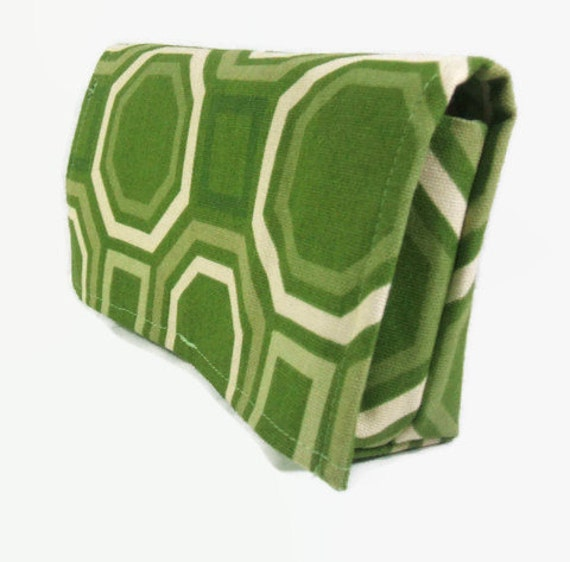 Coupon Organizer Holder Caddy Green Octagons and Squares Heavy Duty Fabric