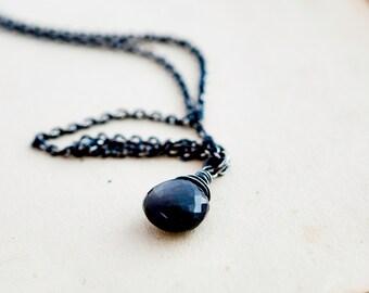 Gemstone Necklace, Moonstone Necklace, Black Moonstone, Sterling Silver, Moonstone Pendant, Rain Storm, Storm Cloud, Gemstone Jewelry