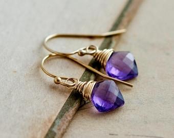 Amethyst Earrings, Diamond Gems, Amethyst Jewelry, Wire Wrapped, 14K gold filled, February Birthstone, Grape, plum, PoleStar, Gold Jewelry