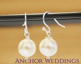 Bridesmaid Jewelry, Spring Wedding, Be My Bridesmaid Card, Bridesmaid Earrings, Personalized Bridesmaids Gift, Simple Pearl Earrings PE001