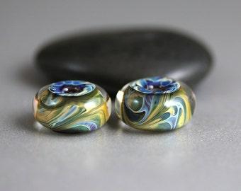 Lampwork Glass Beads - Pair - Lampwork Beads - Blue Green Yellow