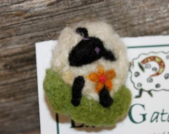 Sheep, Needle Felted Sheep Pin, Felted Sheep Brooch, # 1706