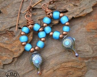 Turquoise Glass and Lampwork Headpin earrings