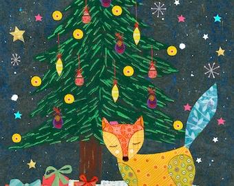 Christmas Fox - Christmas Nursery Decor - Animal Nursery Art Print - Animal Painting - Fox Art Print - Children Decor - Kids Decor
