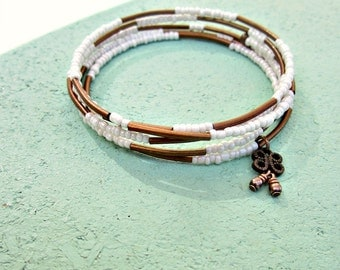 Memory Wire Bracelet, Adjustable Ivory Beaded Wrap Bangle with Rustic Copper Accents: Tessarae