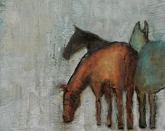 HORSE ART Winter Graze Colette W. Davis Art Giclee print