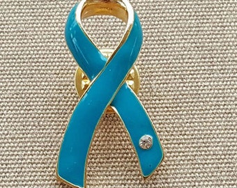 Teal Ribbon Pin / Brooch - Ovarian Cancer - Cancer Awareness - Cancer Ribbon - Cancer Support