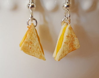 Grilled Cheese Earrings - Food Jewelry - Sandwich Earring - Polymer Clay