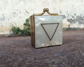 WATER Alchemy Elemental Symbol Etched Mother of Pearl and Brass Vintage Pill Boxes Trinket Case