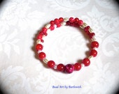 ON SALE Rich Reds  Summer Fun  Memory Wire Bracelet  Fashion Bracelet for Every Day Wear boho modern hipster gypsy