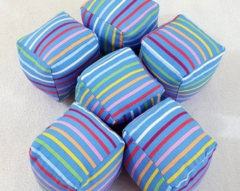 MOVING SALE Blue Rainbow Stripe Cube Pillow Square Stuffed Toy Plush 3D Cubes Gift Set of 6 Last One
