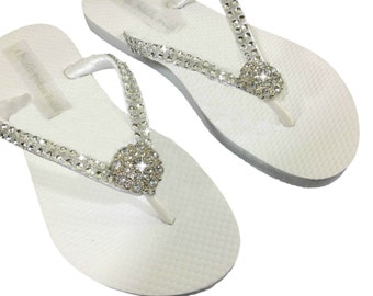 Rhinestone Bridal Flip Flops - Bridal Flip Flops -  Bridesmaid Flip Flops - Beach Slippers - Beach Wedding - Beach Sandals