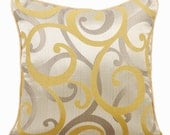 Mustard Yellow Couch Cushion Covers 16 x 16 Pillow Covers Silk Jacquard Patterned Decorative Pillows - Scrolling All The Way