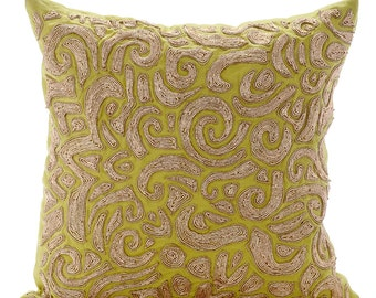 Decorative Throw Pillow Covers Accent Pillow Couch Sofa Toss Pillow 16x16 Inches Green Linen Pillow Cover Zardozi Embroidered Gold Carnival