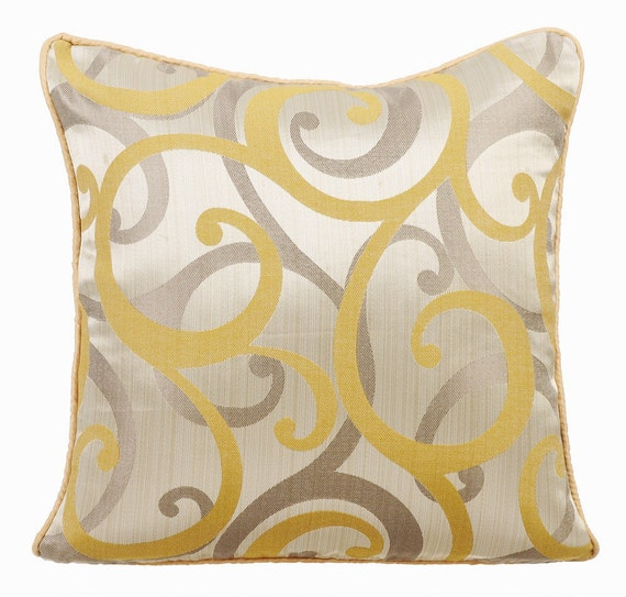 Mustard Throw Pillow Covers : Mustard Yellow Couch Cushion Covers 16 x 16 Pillow Covers Silk