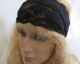 Wide Black Stretch Lace Headband (5239)